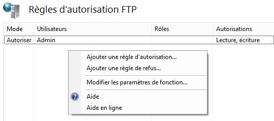 Règles d'autorisation FTP