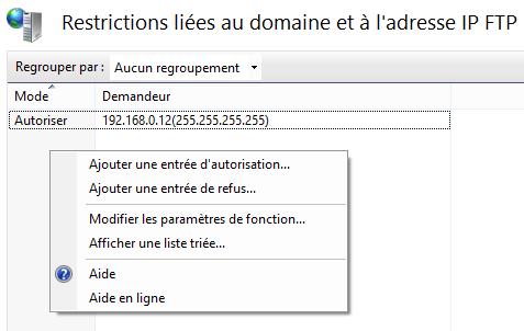 Restrictions liées au domaine et a l'adresse IP FTP