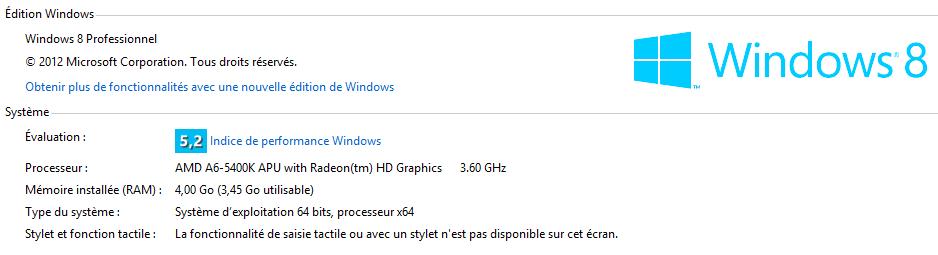 Infos système Windows 8