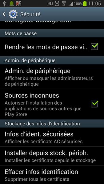 Autoriser l'installation des sources inconnues sous Android