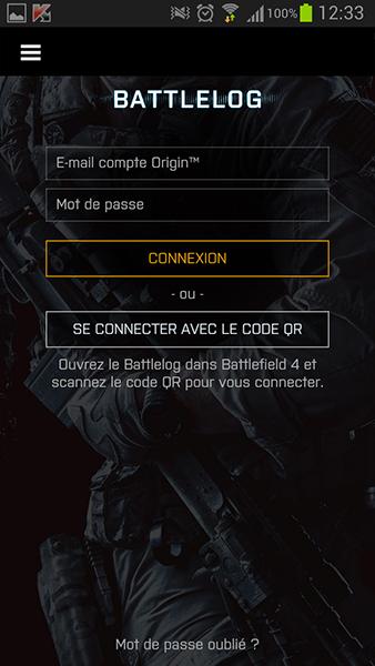 Battlelog : Ecran de connexion