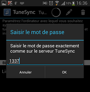 TuneSync : Configuration de l'application