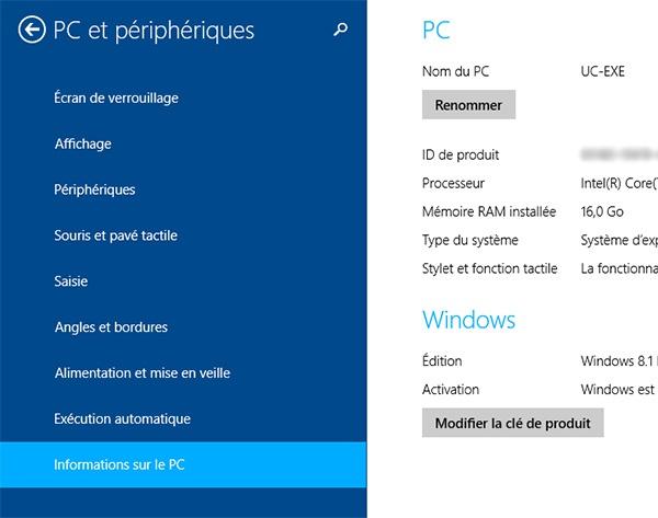 Windows 8 : Modifier la clé de produit
