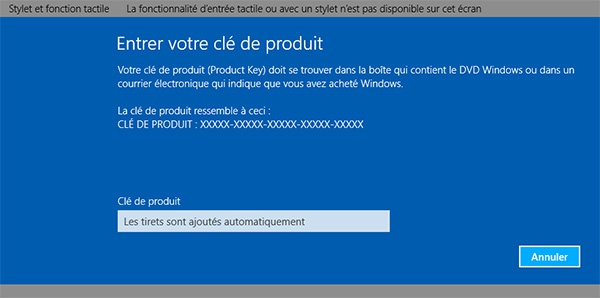 Windows 8 : Clé de produit