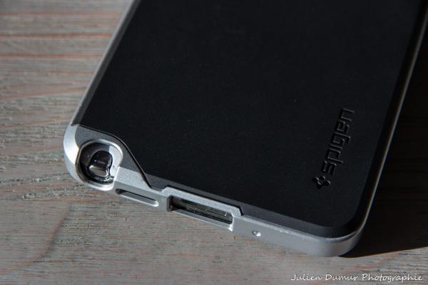 Coque Galaxy Note 3 Spigen : Emplacement de la connectique