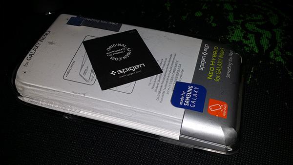 Coque Galaxy Note 3 Spigen : Emballage