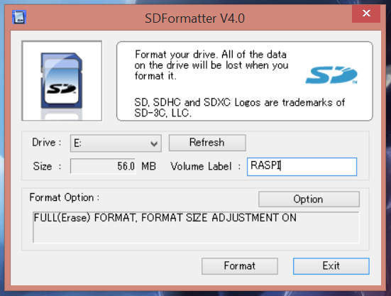 SDFormatter : les options