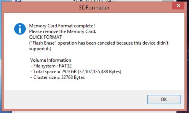 SDFormatter : Formatage terminé !