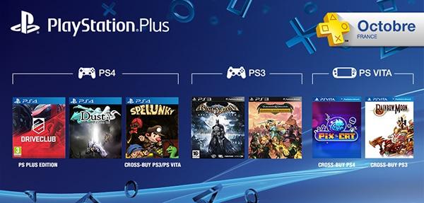 PS+ : Les jeux offerts du mois d'octobre 2014