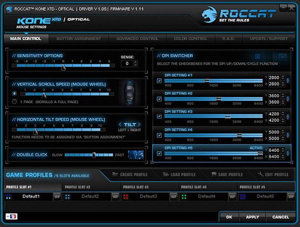 ROCCAT Kone XTD Optical : de nombreux réglages !