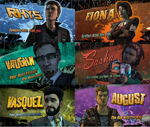 Tales from the Borderlands : August, Vasquez, Fiona, Sasha, Rhys, Vaughn