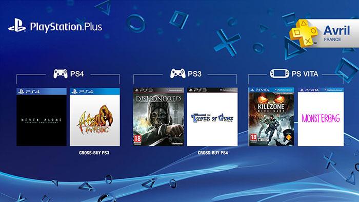 PS+ : les jeux offerts d'avril