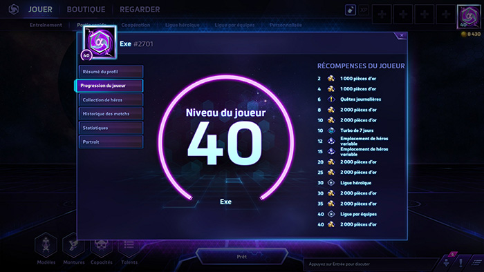 Heroes of the Storm : progression du joueur