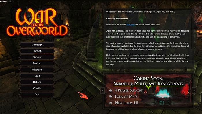 War for the Overworld : l'écran d'accueil