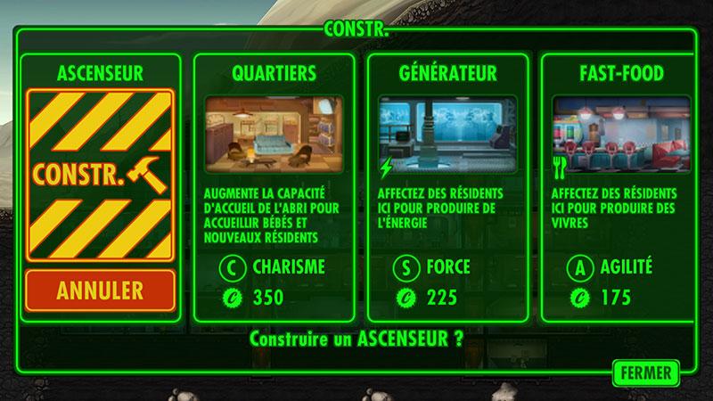 Fallout Shelter : De nombreuses constructions