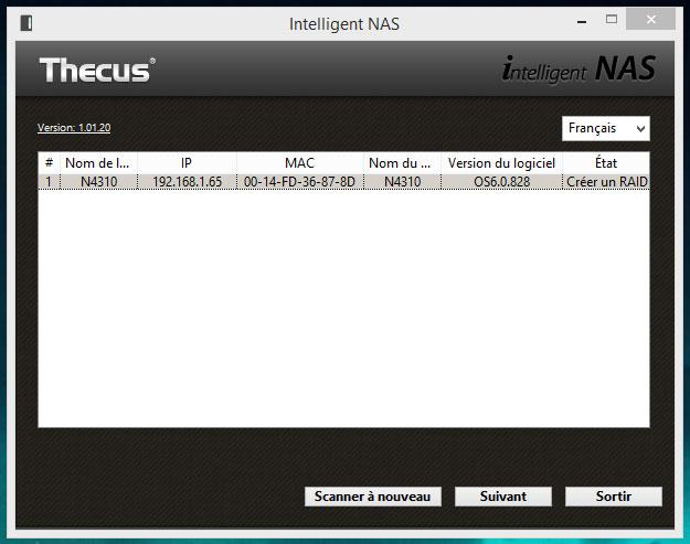 Thecus N4310 : assistant de configuration